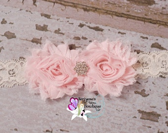 Blush Pink Ivory Shabby Flower Rhinestone Lace Headband, Flower Girl, Wedding, Bridesmaid, Baby Toddler Girl Woman, Vintage - SB-006e
