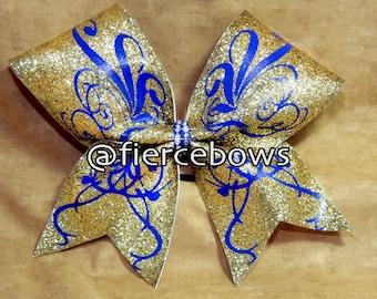 Curls and Swirls Glitter Cheer Bow