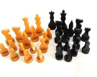 Art Deco Chess Set, Catalin Chess Pieces, Bakelite Butterscotch and Black