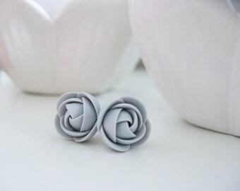 Polymer clay earrings - Light grey rose flower stud earrings Ear studs Casual Grey Studs