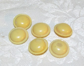 Set of 6 Celluloid Dome French Ivory Buttons