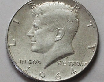 1964 Kennedy 90% Silver Half Dollar Coin  - sku 1293.3