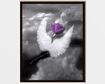 Black White Purple  Rose/Sky/Angel Wings/Floral Bedroom Wall Art Photography Home Decor Matted Picture