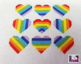 Nine Rainbow Hearts (11) cross stitch pattern bright cheerful love pdf instant download printable