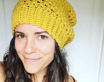 Slouchy Beanie Hat, Yellow Beanie Mustard Beanie Crochet Slouchy Hat, Adult, Beanie, Toque, Women Slouchy Beanie,Winter Hat, Mustard