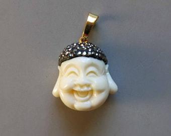 Pave Rhinestone Howlite Buddha Pendant - B1334