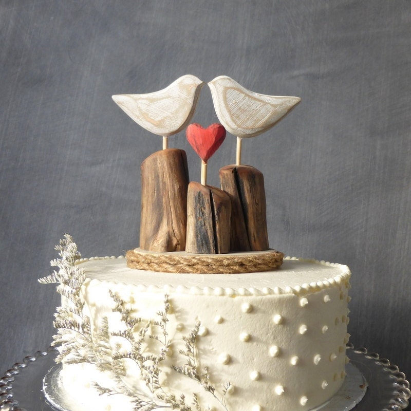 Rustic Beach Wedding Cake Topper Wood Love By WoodenHeartButtons