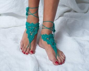 Barefoot sandals emerald green sandals yoga beach crochet sandal foot jewelry shoe leg decoration hippie sandals wedding women bridal