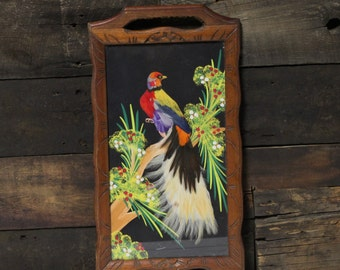 Bird Tray with Real Feathers, Folk Art Carved Wood Tray