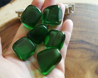Green Obsidian (Gaia Stone) ~ 1 med/large Reiki infused tumbled stone approx .9-1.2 inch