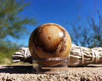 Picture Jasper (Bigg's Brown Jasper) Sphere ~ One 40mm Reiki infused crystal ball with stand (E02)