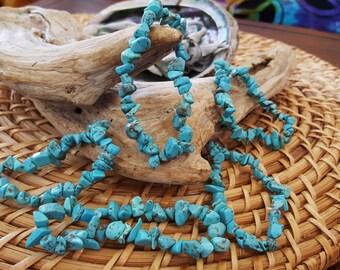 Turquoise stretchy bracelet ~ 1 Reiki Infused gemstone chip bead bracelet