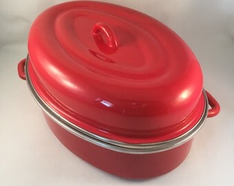 Vintage Enamelware Red Roaster with Lid and 2 Handles, Rustic 1970's