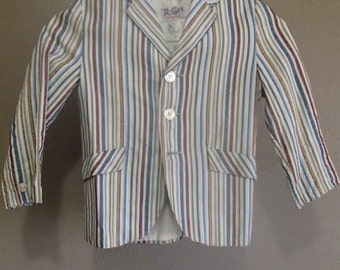 R-Gee Original Child's Gingham Jacket, Fully Lined, Faux Pockets, Slit Back, Made in USA, Vintage Children's Clothing, Retro Kid's Clothing