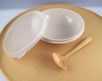 Large Tupperware Harvest Gold Chip N Dip Server with Matching Dip Spoon