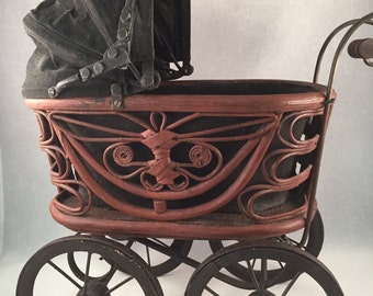Vintage Wicker Baby Doll Carriage, Metal and Woods Wheels, Cloth Expandable Cover, Metal and Wood Handle