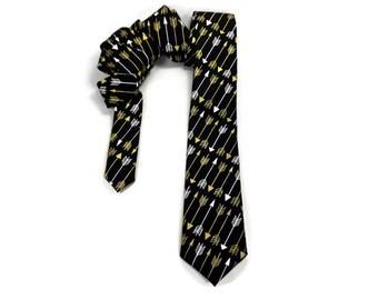 Arrow tie, metallic gold arrows, black tie, white and gold arrows, black gold arrow tie, skinny tie, arrow necktie