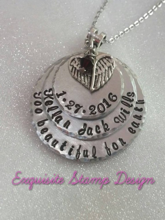 Personalized Memorial Jewelry - Remembrance Necklace - Loss of Baby - Infant Loss - Miscarriage Necklace - Too Beautiful For Earth