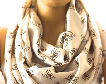 Terrier Dog Infinity Scarf, Loop scarf. Circle scarf. Women Scarf. Scarves, Animals Scarf, Scarves, Gift ideas, Accessories, Christmas gift