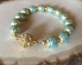 Teal and Gold Bracelet with Magnet Clasp