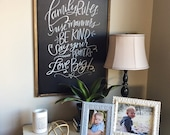 Family Rules chalkboard - large wall decor - handlettered rules