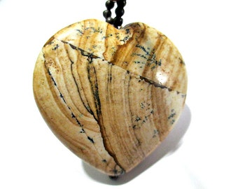 Beaded Wood Necklace Black Brown with Large Heart Shape Beige White and Black Marble Design