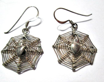 Sterling Silver Vintage 1970's Detailed Spider in Spider Web Pierced Earrings