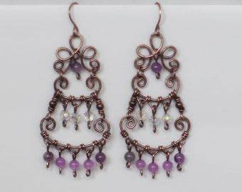 Bohemian earrings copper and jade / Pink romantic earrings