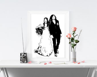 Custom Portrait in INK from Photo, Drawing - Unique Gift Grafitti Art Street Art Holiday Cards Wedding Invitations