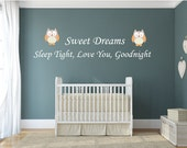 Owl Sweet Dreams Wall Decal Quote, Sleep Tight, Love You Good Night baby wall stickers