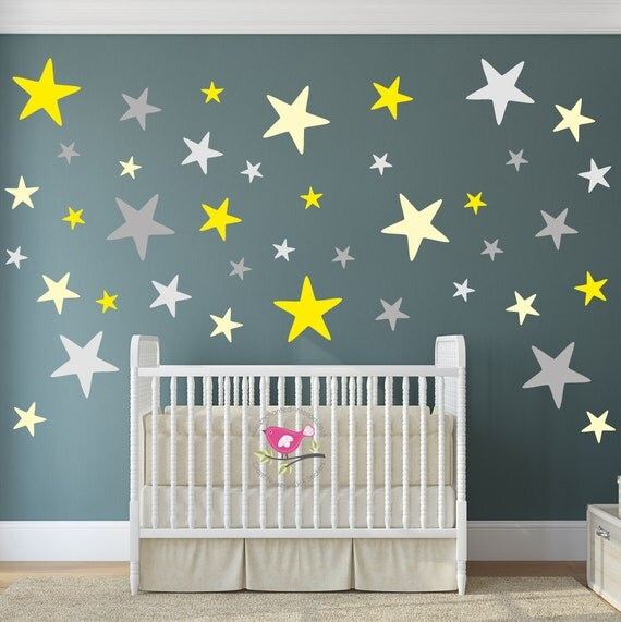 Grey Star Wall Decor : Star wall decals yellow and grey nursery decor baby