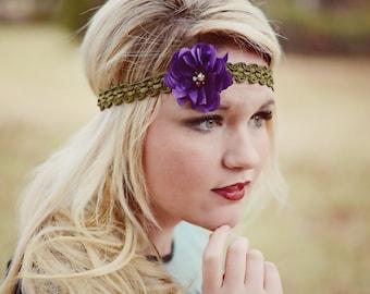 Purple Pearl Flower Boho Headband - Olive Green Twist - Bohemian Gypsy Headbands - Hippie Headband - Flower Hair Accessories Bridal