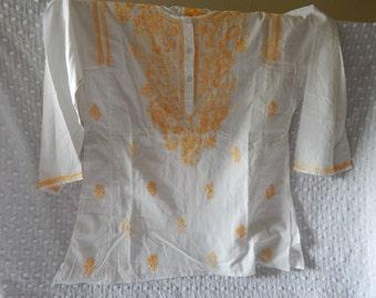 Crisp White Cotton Tunic Size M/L