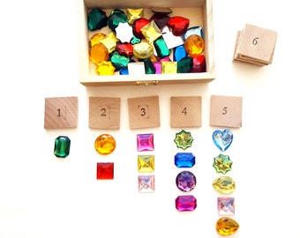 Montessori math material, preschool learning toy, counting game, princess gift for girl, Waldorf toy, number game, travel toy, princess game