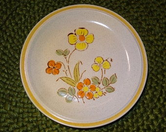 Set of 8 Hearthside Garden Festival Sunshine Flowers Salad/Bread/Dessert Plates / Stoneware Plates / Sunshine Flowers