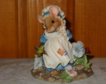"Enesco Mouse Tales ""Little Betty Blue"" / Mouse Figurine / Enesco Figurine / Mouse Tales"