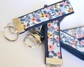 Rifle Paper Co Fabric Key Chain, Blue Key Holder, Floral Key Fob, Wristlet Key Chain for Women, Wrist Lanyard Navy Key Holder Gift Under 10