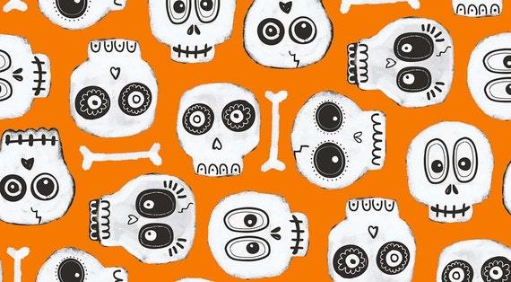 Boo Crew Sugar Skull Bone Halloween Fabric