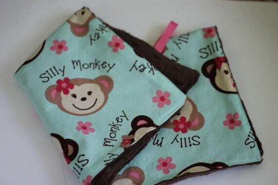 Mini baby blanket,baby lovey,monkey baby lovey,baby girl lovey,  baby shower gift