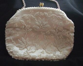 Vintage 1960s Beaded Evening Bag Bridal Bag Formal Bag