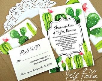 15% OFF, Wedding, Cactus, Invitation Set, Lined Envelopes, RSVP, Green, Hot Pink, ECO, Recycled, Brown Kraft Paper