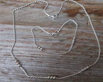 Vintage sterling silver rope chain  bracelet and necklace set