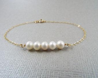 Freshwater Pearl Bracelet, 14kt Gold Filled Bracelet, Gift for Her