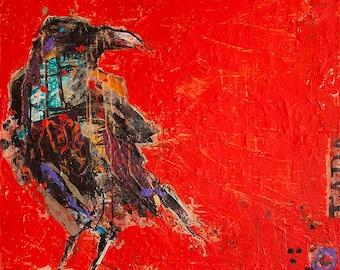 "Tadasana Crow, mixed media Raven print on canvas, 10"" x 10"""