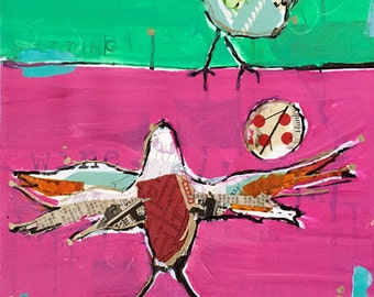 Sit.Stand.Fly. mixed media bird painting