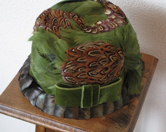 Green and Pheasant Feather Woman's Hat - Union Made in USA