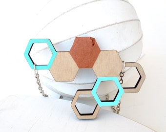 Honeycomb Necklace, Wood Honeycomb Geometric Necklace, Hexagon Necklace - Copper, Mint, and Sky Blue