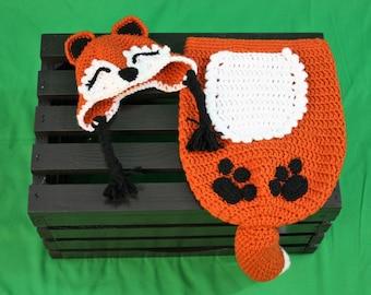 Baby Fox Cocoon Set, Fox Cocoon, Fox Hat, Baby Fox, Infant Fox Cocoon, Infant Fox Hat, Infant Cocoon