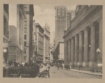Broad Street New York photographic print c1910 Stock Exchange vintage print art picture home decor wall art America American