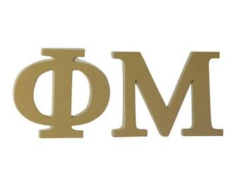 """Phi Mu 7.5"""" Unfinished Wood Letter Set"""